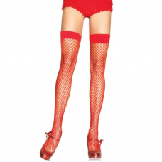 LEG AVENUE FISHNET THIGH HIGHS RED ONE SIZE