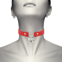 COQUETTE HAND CRAFTED CHOKER KEYS HEART - RED